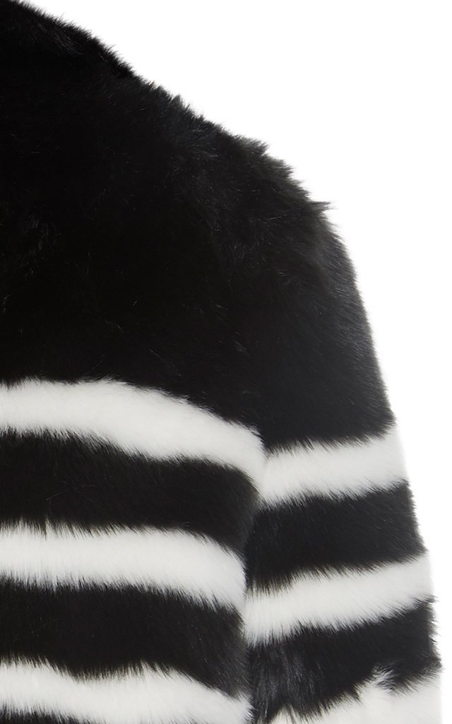 Jerry Striped Faux Fur Coat