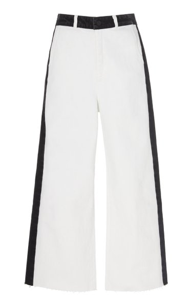 Cropped Two-Tone Wide-Leg Jeans