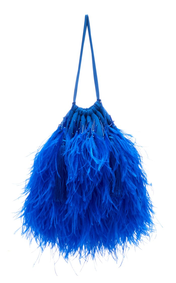 Feather-Embellished Cotton Pouch