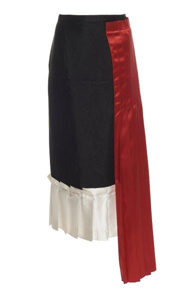 Pleated Satin-Paneled Crepe Midi Skirt