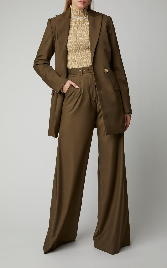 Max Belted Crepe Wide-Leg Pants