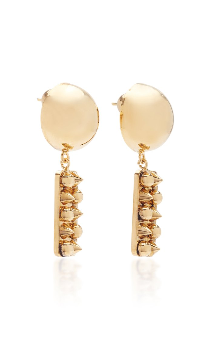 Stud-Embellished Gold-Tone and Bronze Earrings