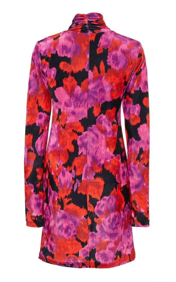 Twisted Floral-Print Georgette Mini Dress