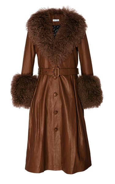 Foxy Shearling-Trimmed Leather Coat