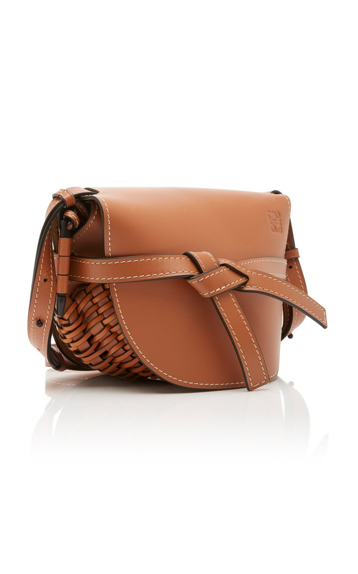 Small Gate Woven Leather Crossbody Bag