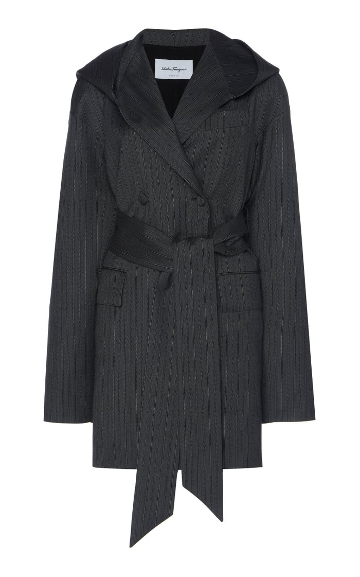 Hooded Double-Breasted Pinstriped Wool Jacket