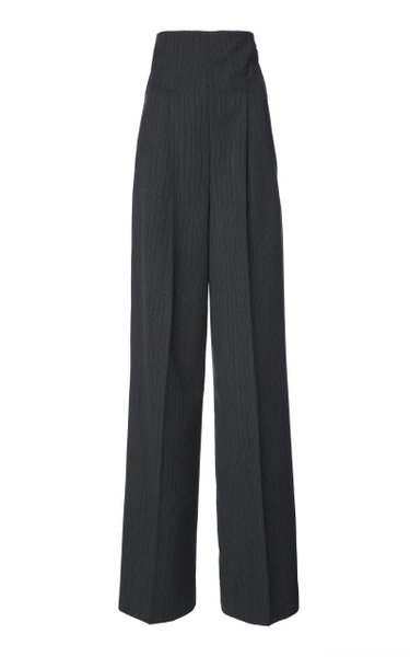 Wool Pinstriped High-Waisted Flared Trousers