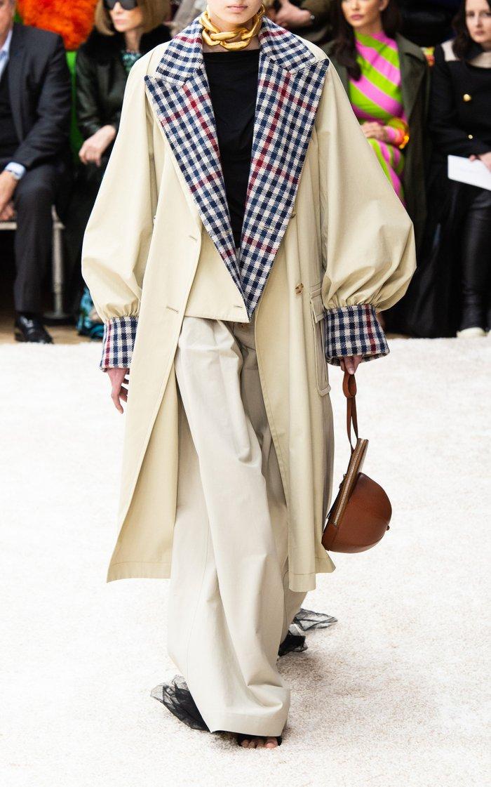 Plaid Contrast Cotton Trench Coat