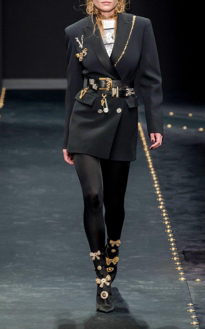 Wide Embellished Leather Belt