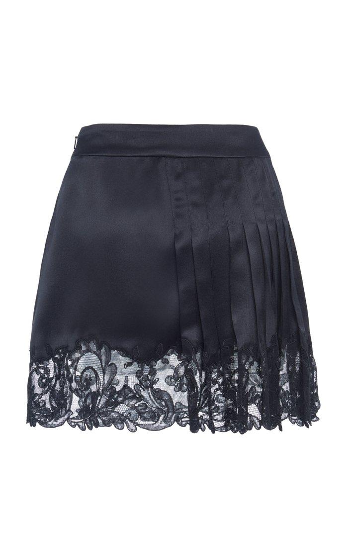 Pleated And Lace-Paneled Silk-Satin Mini Skirt