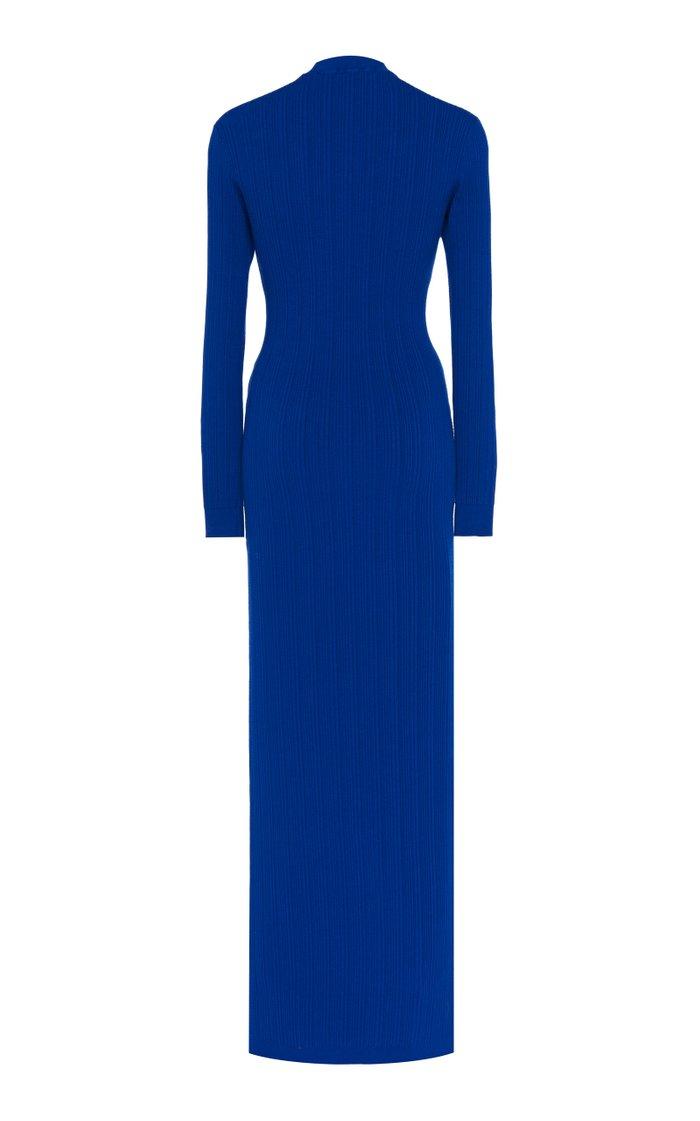 Button-Accented Knit Midi Dress
