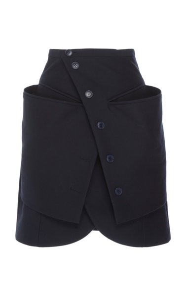Wrap-Effect Button-Accented Tulip-Hem Mini Skirt