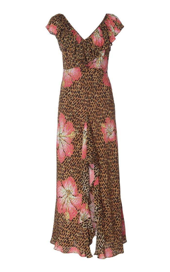 Antoinette Ruffled Silk Midi Dress