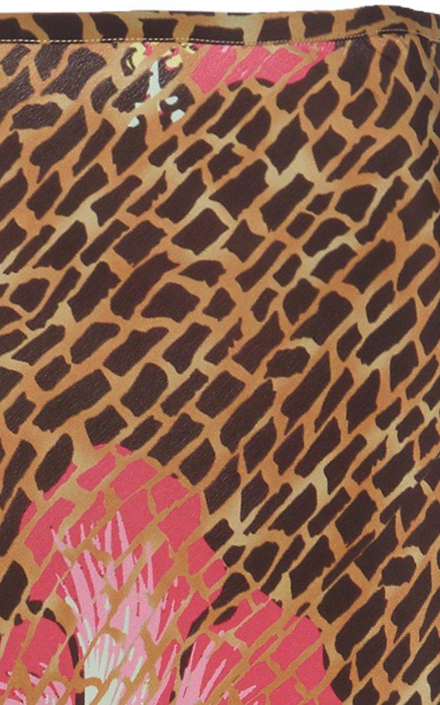 Kelly Abstract Silk Midi Slip Skirt
