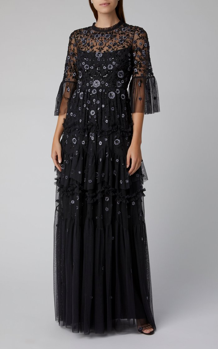 Dahlia Floral Embroidered Gown