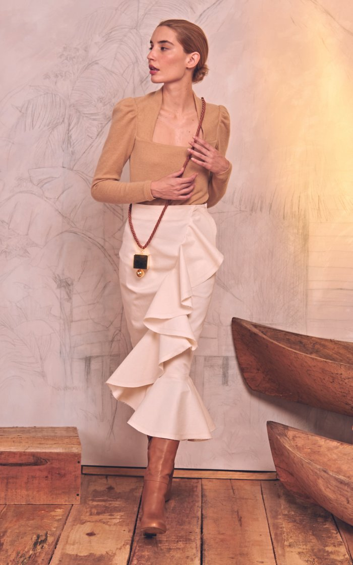 Whismical Encounters High-Waisted Cotton-Blend Midi Skirt