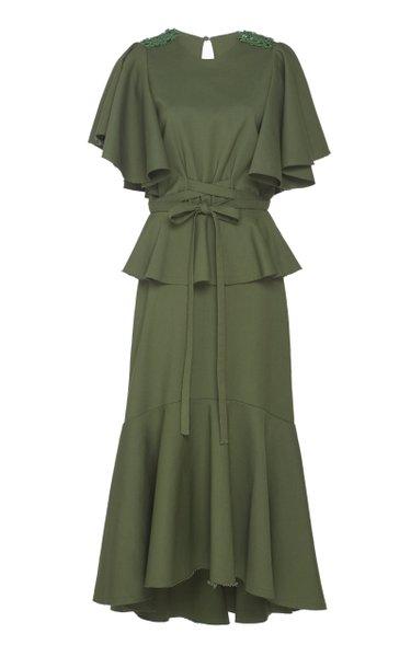 Follow The Drums Cotton-Blend Midi Dress
