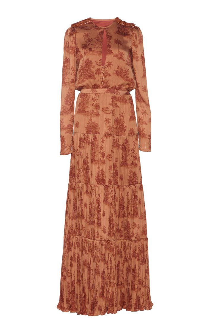 In Search Of Serenity Printed Plissé-Satin Maxi Dress
