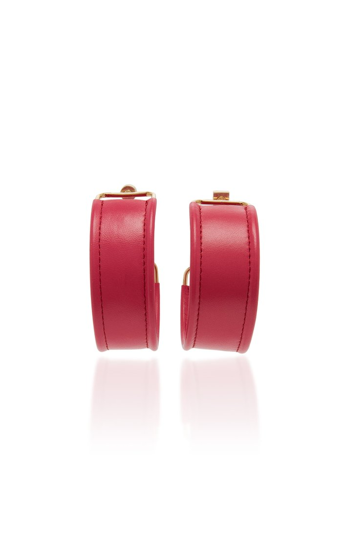 Les Fauteuils Gold-Tone Leather Hoop Earrings