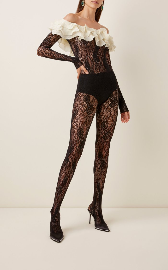 Ruffled Silk-Trimmed Stretch-Leavers Lace Bodysuit