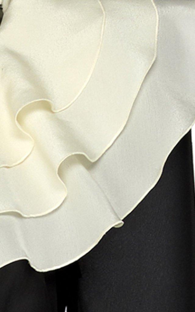 Ruffled Collar Silk Georgette Dress