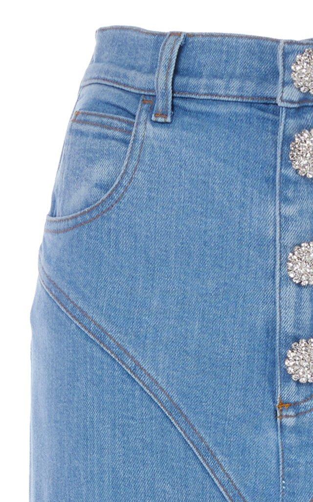 Crystal-Embellished Slim-Leg Stirrup Jeans