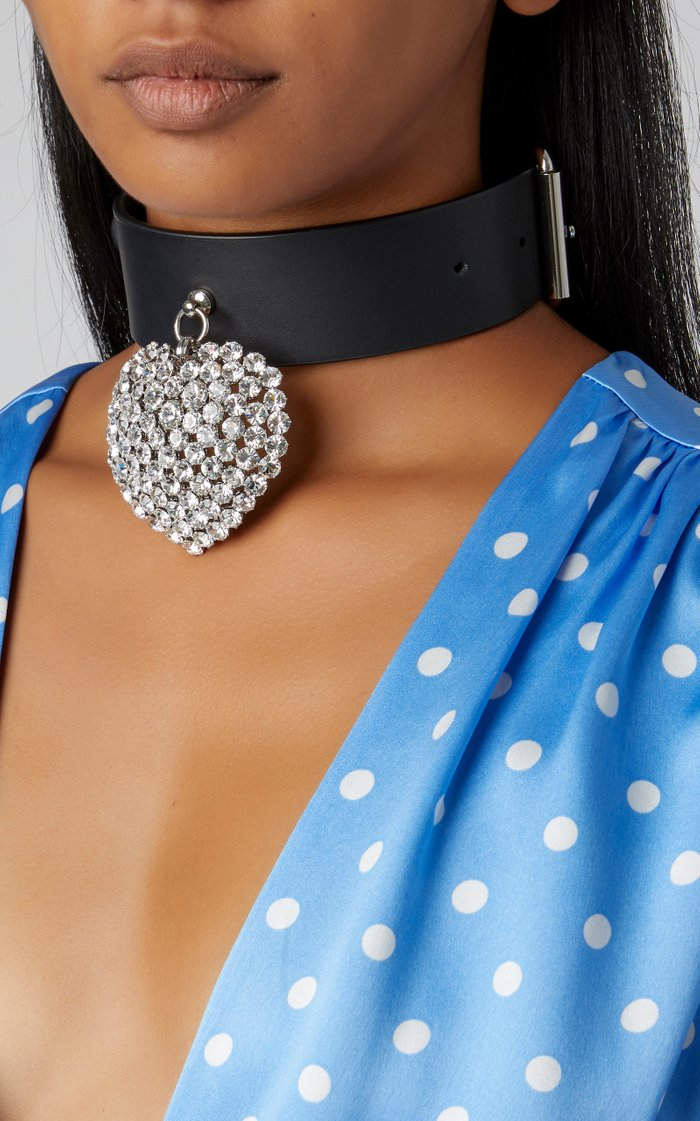 Leather And Crystal Pendant Choker