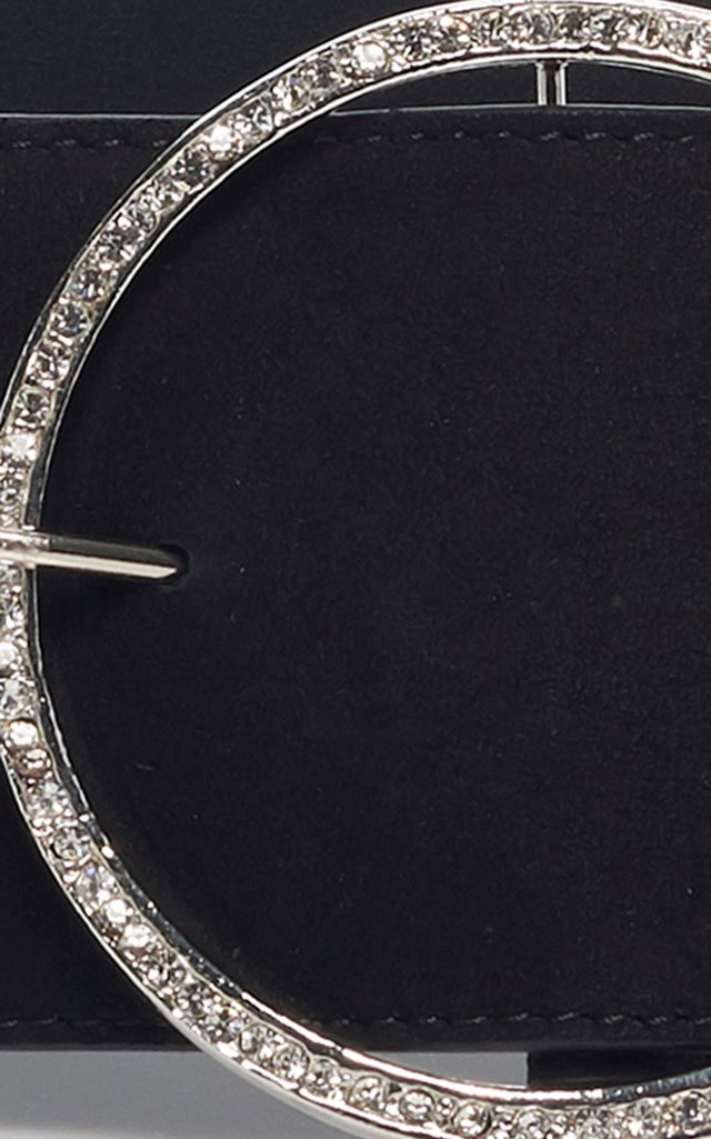 Crystal-Embellished Suede Belt