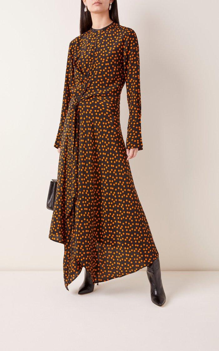 Draped Polka-Dot Print Silk Midi Dress