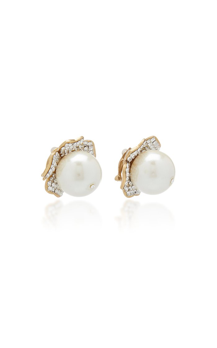 Gold-Tone, Faux-Pearl And Crystal Clip Earrings
