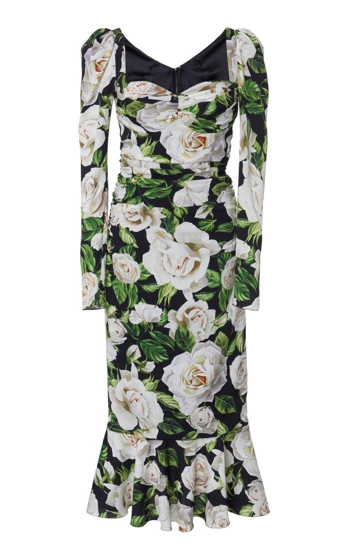 Ruched Floral-Print Stretch-Crepe Midi Dress