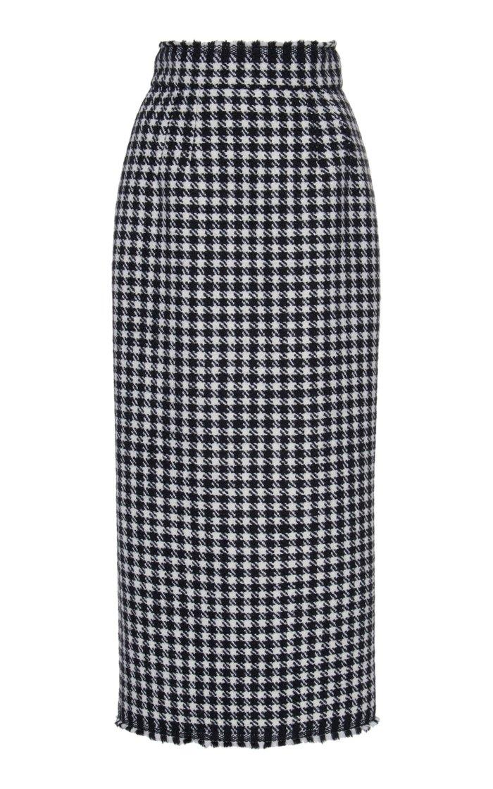 Houndstooth Wool Midi Skirt