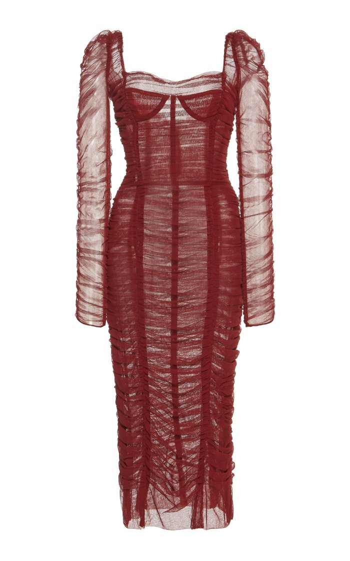 Ruched Tulle Midi Dress