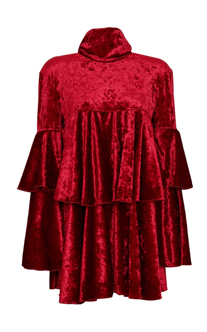 Scarf-Detailed Tiered Crushed Velvet Mini Dress