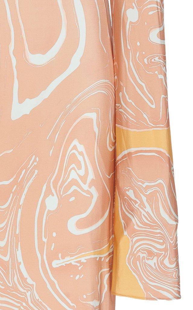 Marbled Jersey Turtleneck Dress