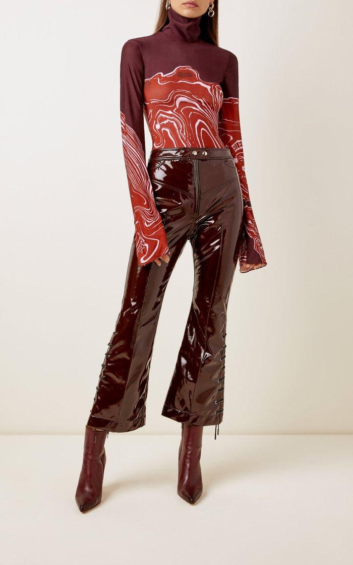 Westward High-Waisted Lace-Up Vinyl Pants