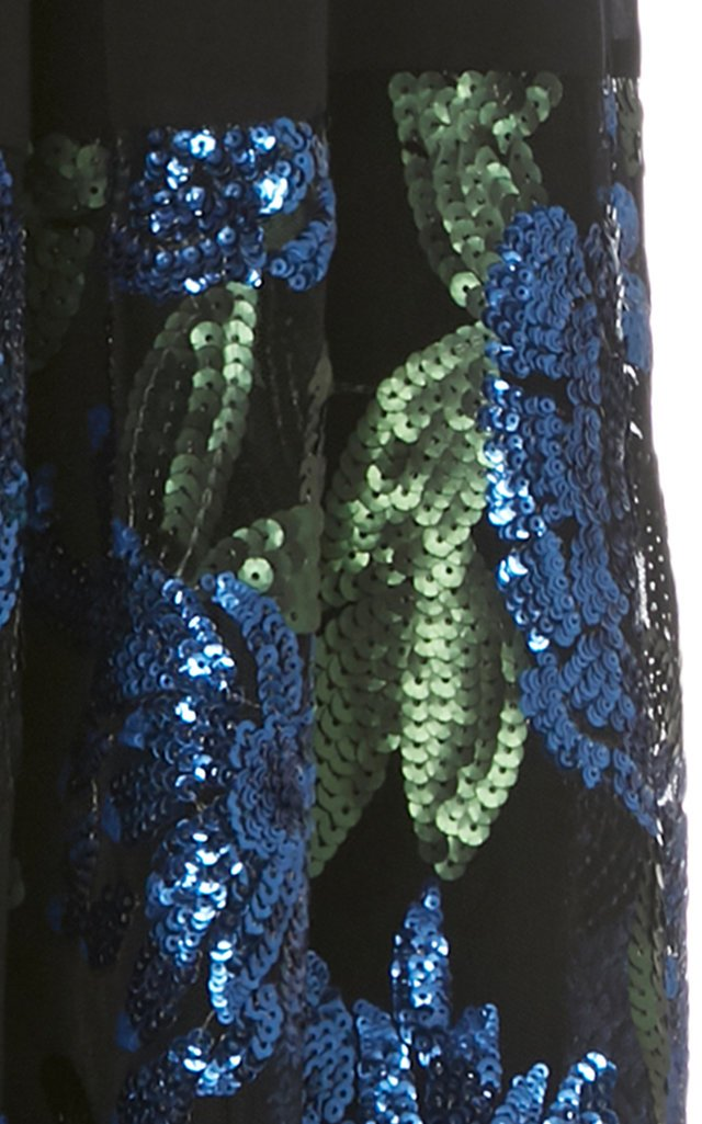 Pleated Sequin-Embellished Silk Skirt