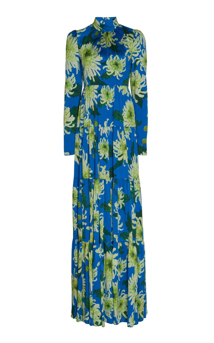 Floral Print Satin Gown