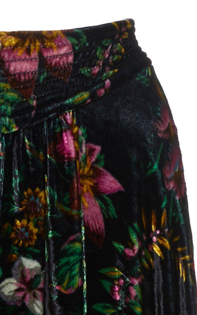 Floral-Print Velvet Maxi Skirt