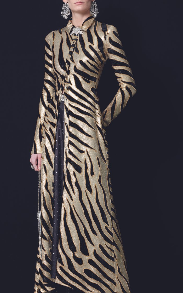 Tiger-Print Lurex Shirt Dress