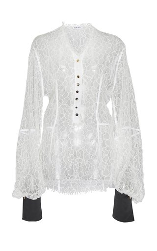 Satin-Detailed Sheer Leaver's Lace Blouse