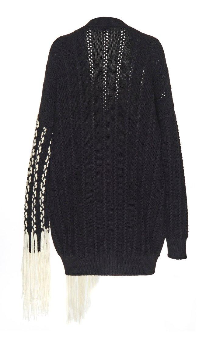 Woven Fringe Open-Knit Wool Cardigan