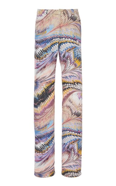 Marbled Mid-Rise Leather Pants