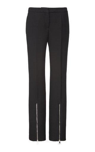 Zipper Wool Silk-Blend Trousers