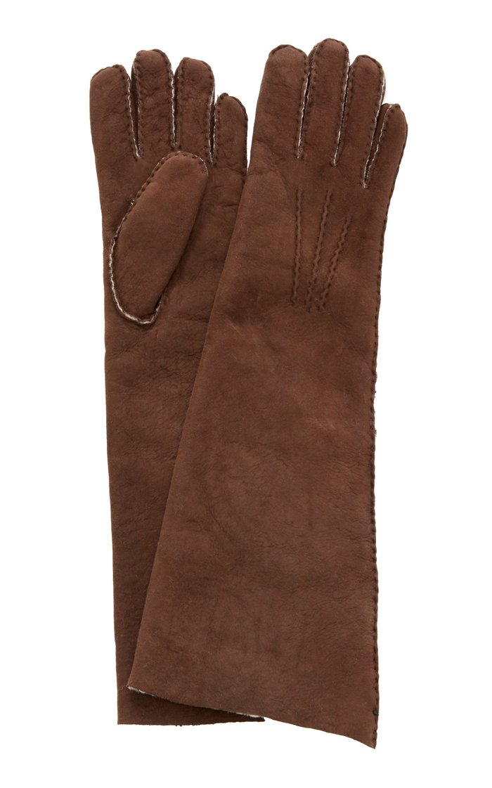 Fleece-Trimmed Shearling Gloves