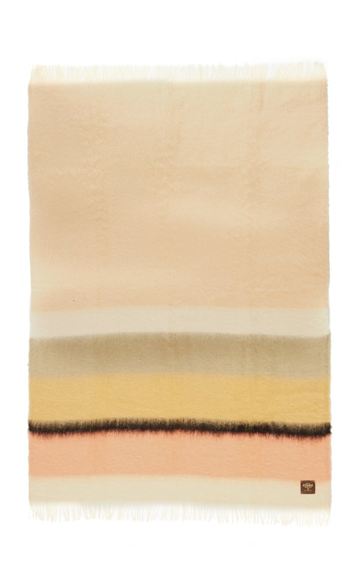 Serenity Striped Mohair and Wool-Blend Throw