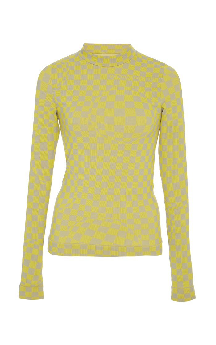 Checkered Mock-Neck Knit Top