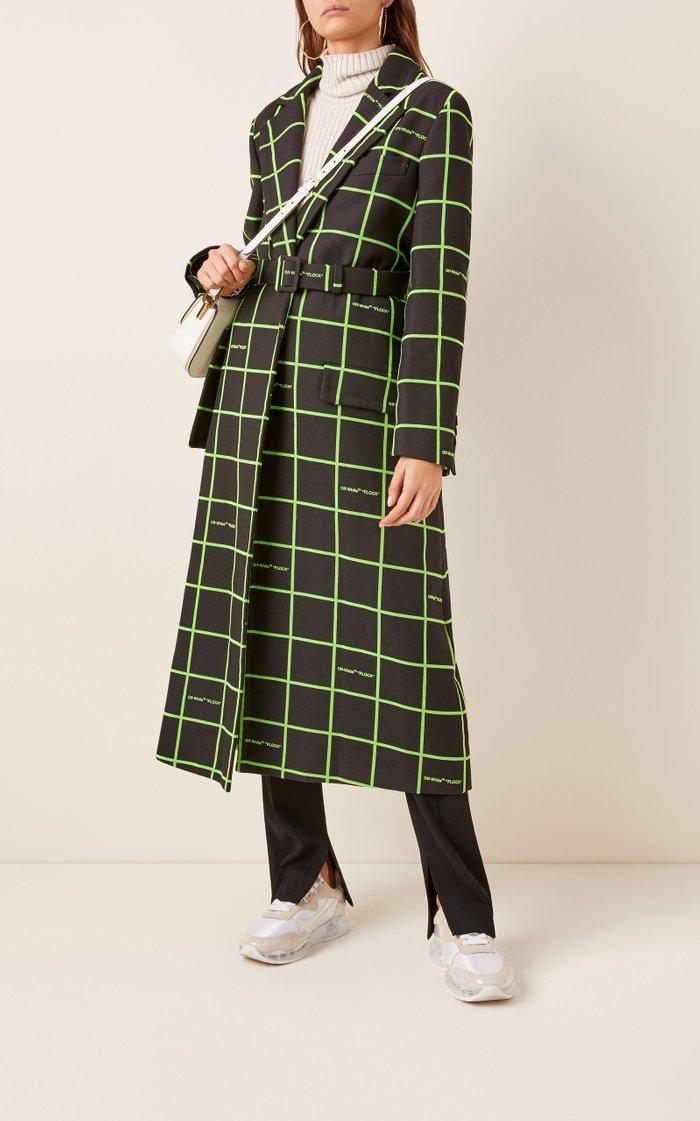 Checked Crepe Overcoat