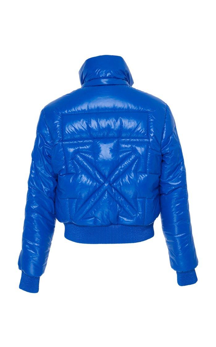 High-Necked Metallic Shell Puffer Jacket