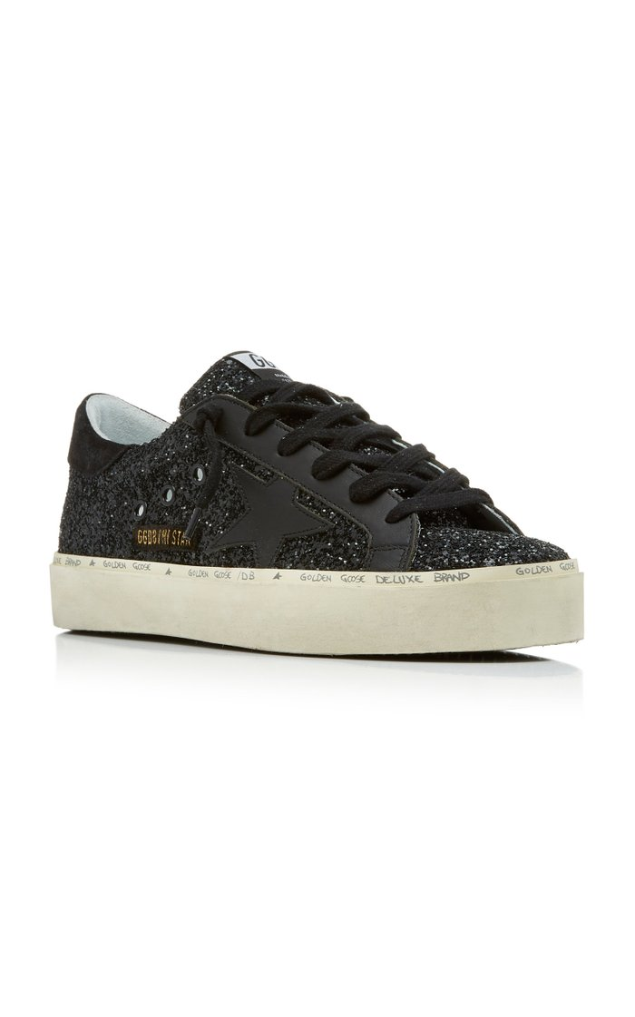 Hi Star Glittered Leather Sneakers